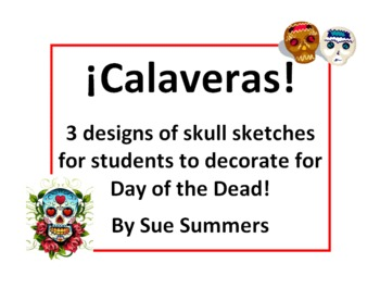 Spanish Day of the Dead / Halloween Calaveras Sketches to Decorate