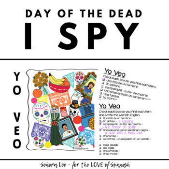 """Spanish """"I Spy"""" Game: Day of the Dead El Dia de Los Muertos"""