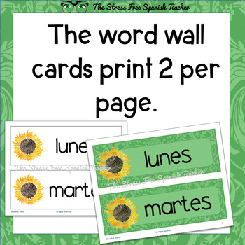 Spanish Days, Month Language Classroom Signs / Posters, Dual Language