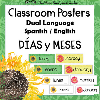 Spanish Days, Month Language Classroom Signs / Posters, Du
