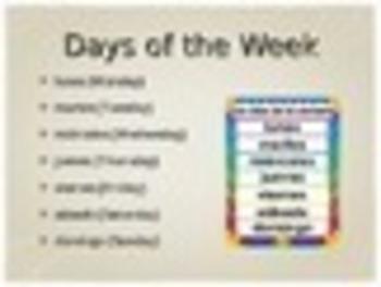 Spanish Days, Months, & Dates PowerPoint Slideshow Presentation