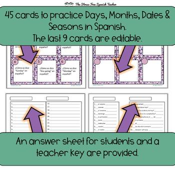 Spanish Days, Months, Dates, Seasons Task Cards! 45 Cards! Editable!