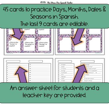 Spanish Days, Months, Dates, Seasons Task Cards! 45 Cards! Editable cards incl!