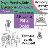 Spanish Days, Months, Dates, Seasons Task Cards! Photocopy Friendly