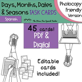 Spanish Days, Months, Dates, Seasons Task Cards! Photocopy