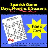 Spanish Days, Months & Seasons Board Game - Zero Prep