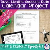 Spanish Days, Months, Seasons, Date Calendar Project
