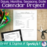Spanish Days, Months, Seasons, Date Calendar Project