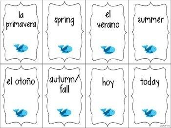 Spanish Days, Months, Seasons, and Calendar Vocabulary ¡Pesca! (Go Fish) Game