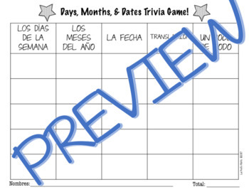 Spanish Days, Months, and Dates Jeopardy-Style Trivia Game