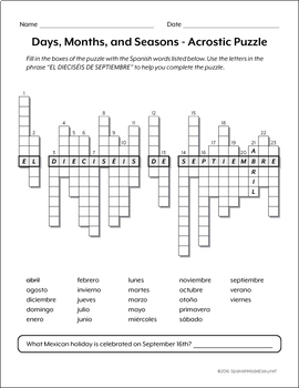 Spanish Days, Months, and Seasons Vocabulary Puzzles