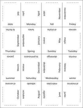 Spanish Days, Months, and Seasons Matching Squares and Flash Cards
