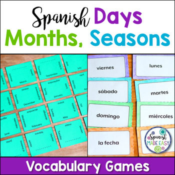 Spanish Days Months and Seasons Vocabulary Games