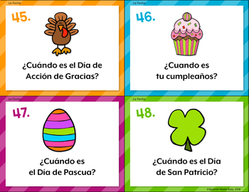 Spanish Days, Months, and Seasons Task Cards