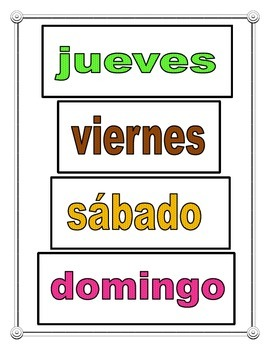 Spanish Days Of The Week Poster