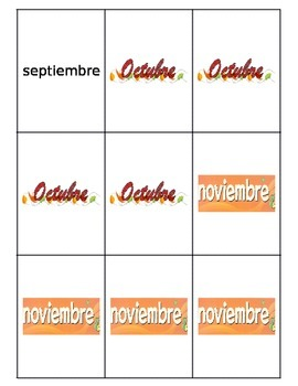 Spanish Days and Months Go Fish Game 2