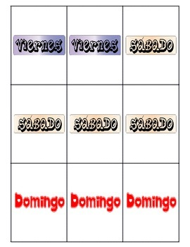 Spanish Days and Months Go Fish game