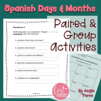 Spanish Days and Months Speaking and Writing Paired and Group Activities