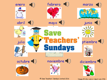 Spanish Days and Months Unit (6 lessons) - All lessons have AUDIO clips