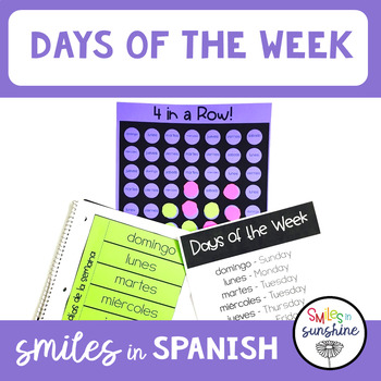 Spanish Days of the Week: 4 in a Row Game and Interactive Notebook
