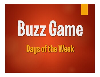 Spanish Days of the Week Buzz Game