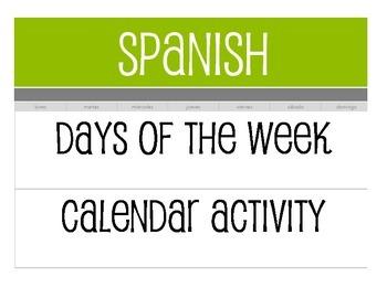 Spanish Days of the Week Calendar Activity