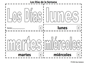 Spanish Days of the Week Coloring and Tracing Booklets - Dias de la Semana