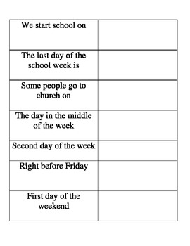 Spanish Days of the Week Fill in