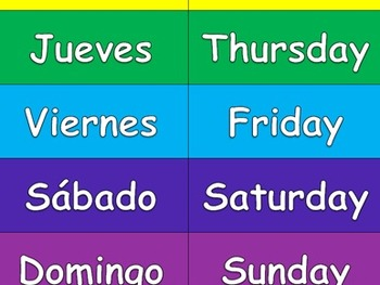Spanish Days of the Week Matching Game