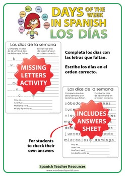Spanish Days of the Week - Missing letters