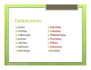 Spanish Days of the Week Notes