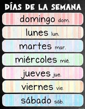 "Days of the Week (Días de la Semana) Poster 22""x28"" –Spanish"