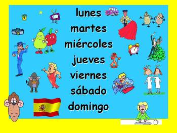 Spanish Teaching Resources. Days of the Week PowerPoint: 2 Slides.