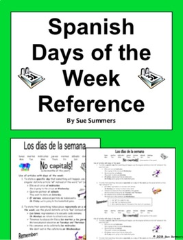 Spanish Days of the Week Reference