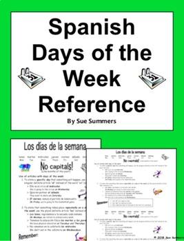 Spanish Days of the Week Reference - Los Días de la Semana