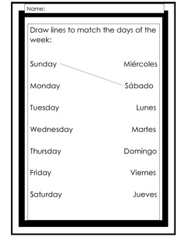 Spanish Days of the Week Resource Pack