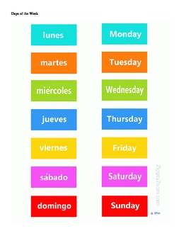 Spanish Days of the Week Table