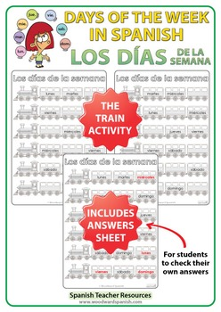 Spanish Days of the Week - Train Worksheets