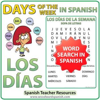 Spanish Days of the Week Word Search - Los Días - Sopa de Letras