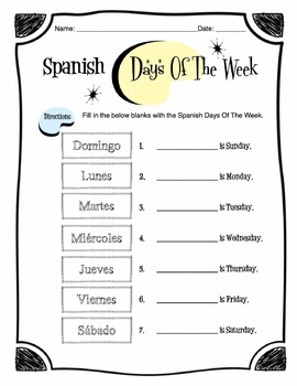 spanish days of the week worksheet packet by sunny side up. Black Bedroom Furniture Sets. Home Design Ideas