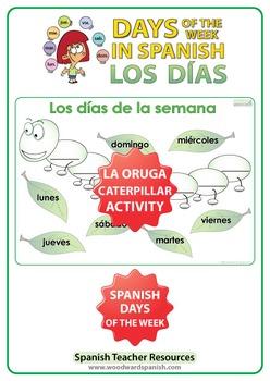 Spanish Days of the Week Worksheet - The Caterpillar - La Oruga