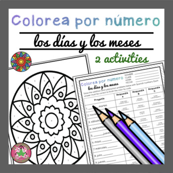 Spanish Days of the Week and Months Worksheets | Color by Number