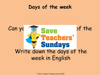 Spanish Days of the week Lesson plan, PowerPoint (with audio), Flashcards & Game