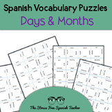 Spanish Days of the week and Months Puzzle, Matching Squares