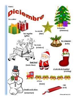 Spanish December Themed Vocabulary Bilingual