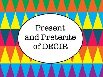 Spanish Decir (Present & Preterite) BUNDLE- Slideshow, Worksheets Pack, Keynote