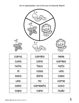 Spanish Decodable Spinners BUNDLE