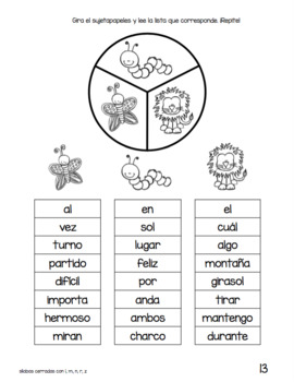 Spanish Decodable Spinners Set 3