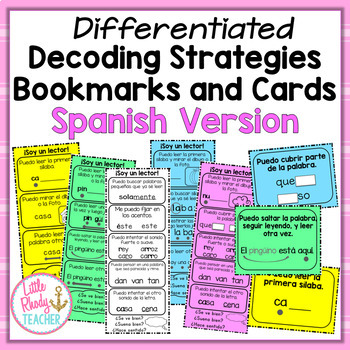 Spanish Decoding Strategies Bookmarks and Cards (Differentiated)