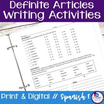 Spanish Definite Articles Writing Activities